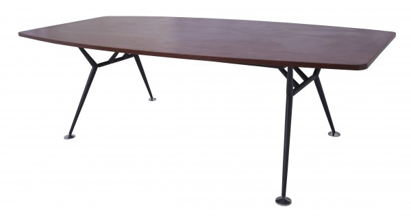 FEVMBT2412 A- Black Metal Frame Boat Shaped Boardroom Table