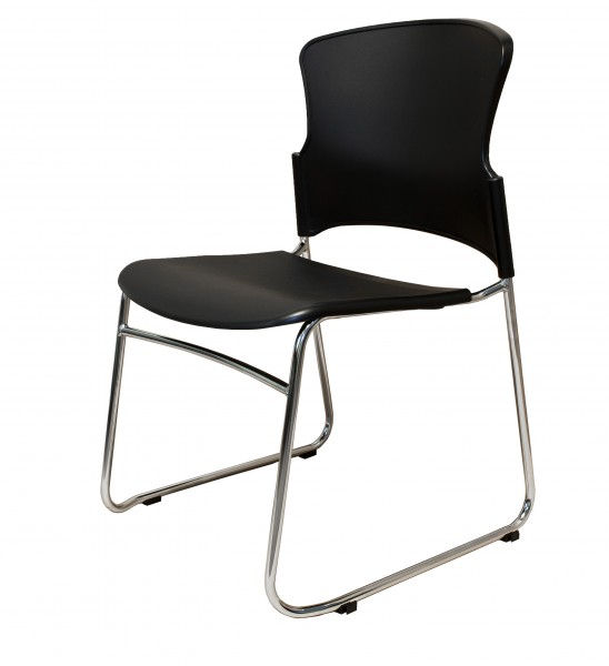 FEZING CHAIR – CHROME SLED BASE, PLASTIC SEAT & BACK WITHOUT ARMS